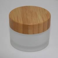 Баночка фростированное стекло 50 мл с деревянной крышкой
