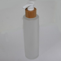 Флакон с дозатором (дерево) 150 мл фростированное стекло