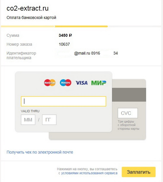 Форма оплаты онлайн